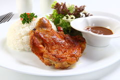 Vietnamese ribs broken rice or com tam suon on white plate Stock Images