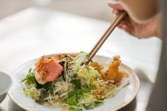 Vietnamese rice noodle roll- called Banh cuon Royalty Free Stock Photography