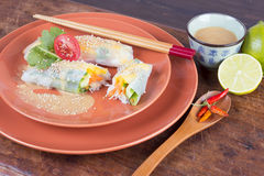 Vietnamese rice paper rolls. Healthy Vegetarian/ vegan Vietnamese dish Royalty Free Stock Photos