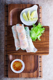 Vietnamese Rice Paper Rolls. With prawn and vegetables Stock Photo
