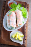 Vietnamese Rice Paper Rolls. With prawn and vegetables Stock Image