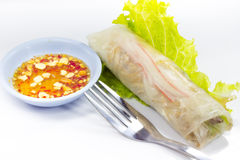 Vietnamese rice paper rolls with prawns Royalty Free Stock Photos
