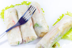 Vietnamese rice paper rolls with prawns Stock Photo
