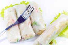 Vietnamese rijstpapierbroodjes met garnalen Stock Foto