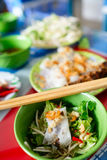 Vietnamese Rolled cake and rice noodles with grilled meat (Bánh cuốn and Thit nuóng) Royalty Free Stock Images