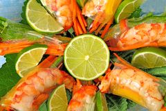 Vietnamese rolls with prawn and vegetables wrapped in rice paper close up Stock Images