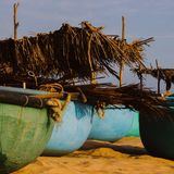 Vietnamese round boats Stock Images