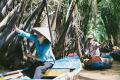 Vietnamese rowing boats. Royalty Free Stock Images