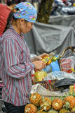 Vietnamese sales woman in Hanoi. A street vendor with her pineapples on the market in the streets of the old quarter in Hanoi, Vietnam Royalty Free Stock Images