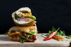 Vietnamese sandwich on the background. Vietnamese sandwich on the dark background Royalty Free Stock Photography
