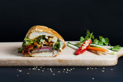 Vietnamese sandwich on the background. Vietnamese sandwich on the dark background Royalty Free Stock Photos