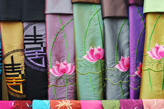 Vietnamese scarves. Close-up of silk Vietnamese scarves for sale - travel and tourism Stock Photos