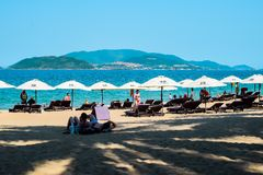 Vietnamese scene: People on the beach in Nha Trang Royalty Free Stock Photography