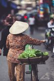 Vietnamese seller with her bike walks selling vegetables royalty free stock photography