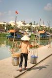 Vietnamese sellerwoman, Hoi, Viet Royalty-vrije Stock Afbeelding