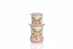 Vietnamese set of pottery/China coffee filter Royalty Free Stock Photos
