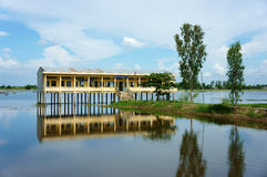 Vietnamese shool in flooded season Royalty Free Stock Photography