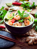 Vietnamese shrimp, prawn, chili shiitake rice noodle. royalty free stock photo