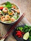Vietnamese shrimp, prawn, chili shiitake rice noodle. stock image