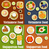 Vietnamese and singaporean cuisine dishes Royalty Free Stock Image