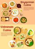 Vietnamese and singaporean cuisine flat icon Stock Photos