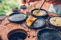 Vietnamese small rice pancake - Traditional Vietnamese food Cooking class. Vietnamese small rice pancake - Traditional food at the middle of Vietnam stock image