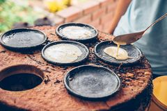 Vietnamese small rice pancake - Traditional Vietnamese food. Vietnamese small rice pancake - Traditional food at the middle of Vietnam stock photo