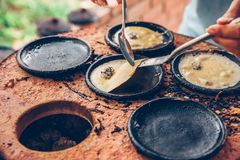 Vietnamese small rice pancake - Traditional food at the middle of Vietnam.  stock photo