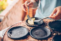 Vietnamese small rice pancake - Traditional food at the middle of Vietnam.  royalty free stock photo