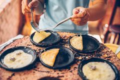 Vietnamese small rice pancake - Traditional food at the middle of Vietnam.  stock image