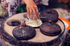 Vietnamese small rice pancake - Traditional food of Vietnam. Vietnamese small rice pancake - Traditional food at the middle of Vietnam royalty free stock images