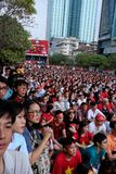 Vietnamese soccer supporters watch AFC U23 final match Royalty Free Stock Photography