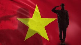 Vietnamese soldier silhouette saluting against national flag, responsibility. Stock footage stock video