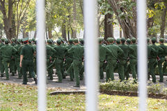 Vietnamese soldiers. Young Vietnamese soldiers practice parade march Royalty Free Stock Photography