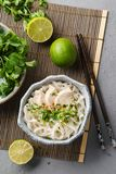 Vietnamese soup Pho GA with chicken, rice noodles and herbs. Vietnamese soup Pho GA with chicken, rice noodles and fresh herbs in a bowl stock images
