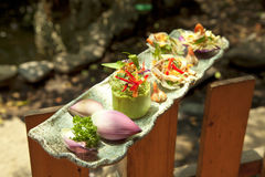 Vietnamese special salad of lotus, onion, shimp and squid or goi Royalty Free Stock Image