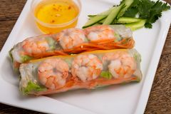 Vietnamese Spring roll with prawn. And vegetables stock photo