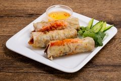 Vietnamese spring roll. With prawn stock photos