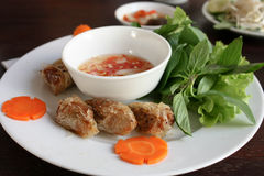 Vietnamese spring rolls. A photo showing a traditional Vietnamese dish, Spring Rolls with sauce and herbs Stock Images