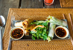 Vietnamese spring rolls and vegetables. Ecological gourmet meal at Mango Bay, Puh Quoc, Vietnam, Jan 23, 2014 Stock Photography