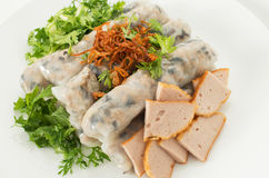 Vietnamese steamed rice noodle rolls Stock Image