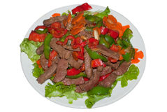 Vietnamese Stir Fried Beef. Beef Stir Fried with lettuce, capsicum, pepper and carrot Stock Image