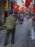 Vietnamese straat vóór de vakantie Stock Foto's