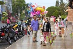 Vietnamese Street Balloon Vendor stock photography