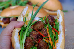 Vietnamese street food, banh mi thit nuong Stock Image