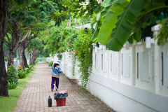 Vietnamese street sweeper Royalty Free Stock Photos