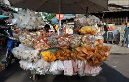 Vietnamese street vendor at Cho Lon market, Royalty Free Stock Images