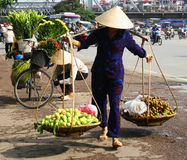 Vietnamese street vendor in Hanoi Stock Images