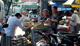 Vietnamese street vendor sell peanut Royalty Free Stock Images