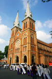 Vietnamese student, ao dai, Saigon Notre Dame Cathedral Royalty Free Stock Photography